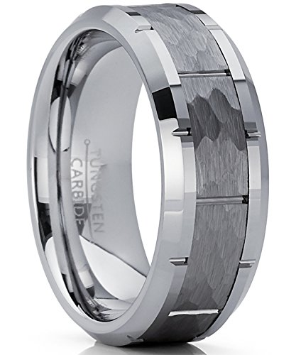 - Men's Hammered Grooved Tungsten Carbide Wedding Band Ring, 8mm Comfort Fit 9