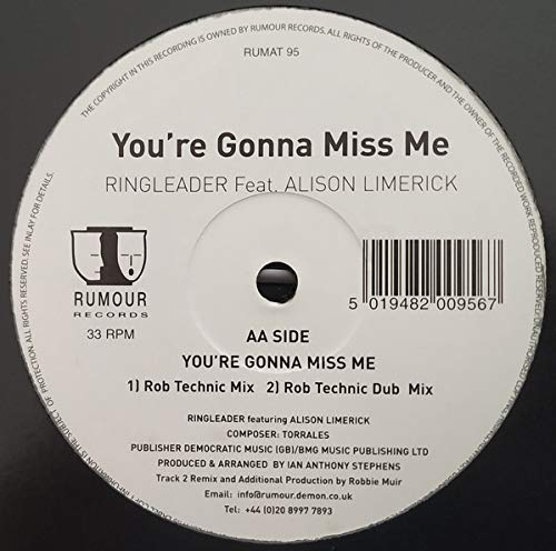 Youre Gonna Miss Me - Ringleader Feat Alison Limerick 12