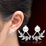 Womens 925 Sterling Silver Pearl Zircon Crystal Simple Leaves Ear Stud Earrings
