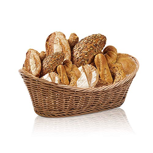 Poly-Wicker Woven Bread Basket Tabletop Food Fruit Vegetables Serving Basket Attractive Table Setting for Holiday Dining,Oval(Honey Brown)