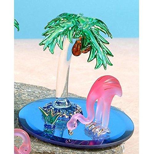 (StealStreet SS-UG-CR-3062 Flamingo Bird with Palm Tree Crystal Glass Figurine Statue Display)