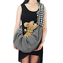Calunce Adjustable Shoulder Strap Plaid Design Reversible Pet Sling CarrierBag Soft and Comfortable Cotton for little Dag/Cat UP to 11.5 lbs (gray)