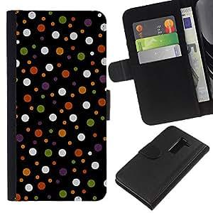 EJOY---La carpeta del tirón la caja de cuero de alta calidad de la PU Caso protector / LG G2 D800 / --Spots Polka Dot Design Tela Pastel