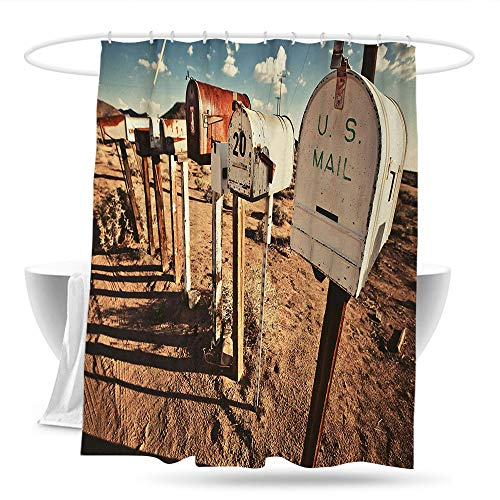(huangfuzz United States Kids Bathroom Shower Curtain Old Mailboxes in West America Rural Rusty Landscape Grunge Countryside Bathroom Curtain Washable Polyester 59in×70in Brown Blue White)