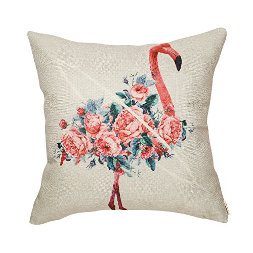 Fjfz Watercolor Flamingo Coral Floral Girl Nursery Cotton Linen Home Decorative Throw Pillow Case Cushion Cover for Sofa Couch, 18