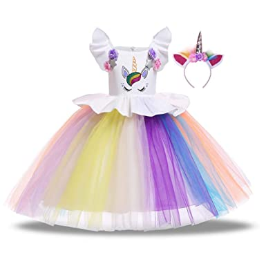 DZH Enjoy Niña Unicornio Concurso de Disfraces Vestido de ...