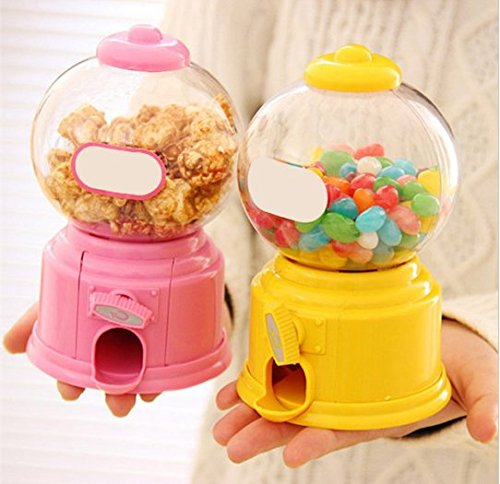 URToys 1Pcs Cute Sweets Mini Twist Candy Machine Bubble Gumball Gum Nuts Dispenser Piggy Bank Saving Coin Money Storage Bank Kids Toy Children Christmas Gift(At Random Color)