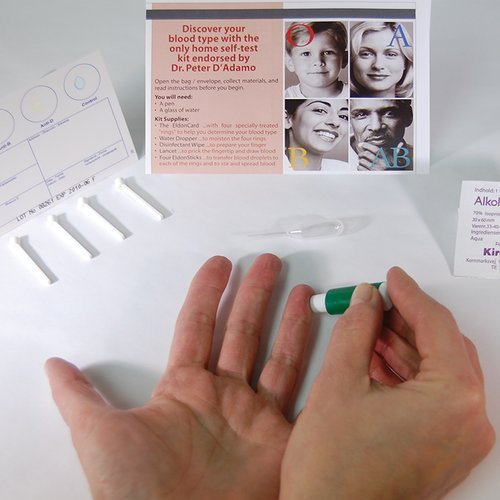 Blood Type Eldoncard Typing Test Kit Includes: 1 Eldoncard, Lancet, Gauze, Alcohol Wipe, Micropipette (1)