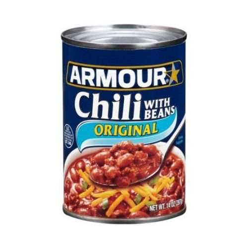 Armour Original Chili with Beans, 14 Ounce - 12 per case. - Chili Cheese Hot Dogs