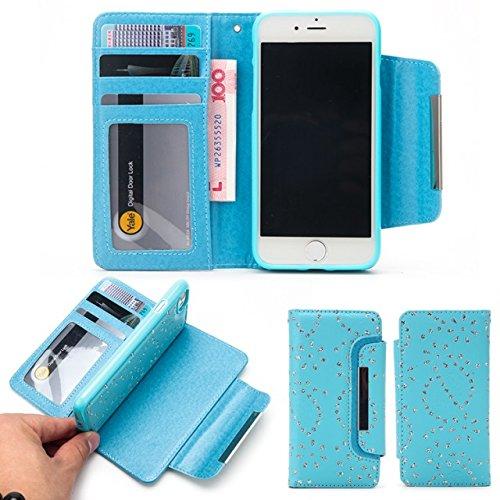 JIALUN-carcasa de telefono Funda de cuero PU 2 en 1 cubierta de la caja de la cartera desmontable con ranuras para tarjetas y solapa magnética para el iPhone 7 ( Color : Red ) Blue
