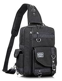 Leaper Men's Fashion Messenger Shoulder Bag Cross Body Laptop Sling Backpack Black