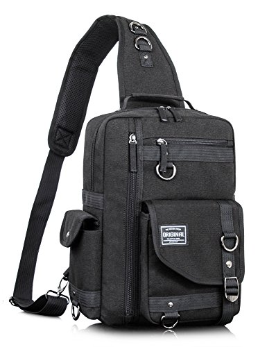 Leaper Messenger Bag Outdoor Cross Body Bag Sling Bag Shoulder Bag Black (Geek Luggage)