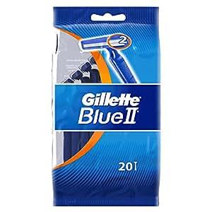 Gillette blue ii - Maquinillas de afeitar desechables (20 unidades), color azul
