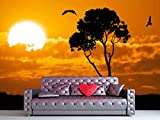 wall26 - Africa Safari Nature Sunset. Element of Design. - Removable Wall Mural | Self-adhesive Large Wallpaper - 100x144 inches