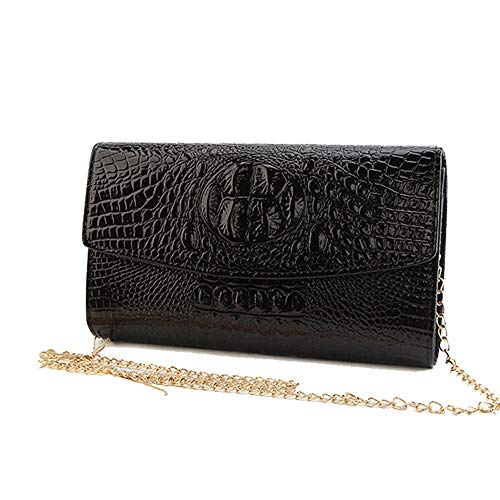2019 Women Shiny Black Wallets Fashion Envelope Clutch Purses Evening Bag Handbag Day Clutch With Gold Chain For Wedding Party