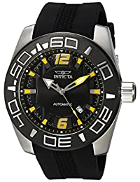 Invicta Men's 'Aviator' Automatic Stainless Steel and Silicone Casual Watch, Color:Black (Model: 23529)