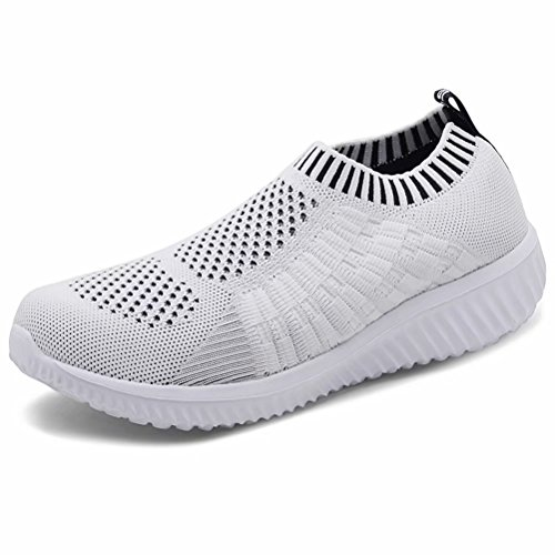 LANCROP Women's Lightweight Slip On Athletic Sneakers Breathable Mesh Walking Shoes White 02