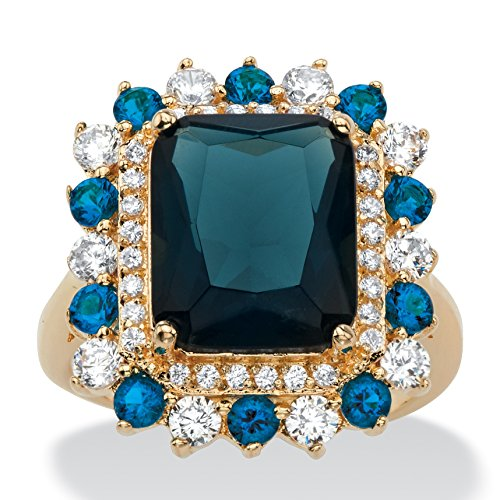 Palm Beach Jewelry Emerald-Cut Simulated London Blue Sapphire and CZ 14k Gold-Plated Halo Cocktail Ring