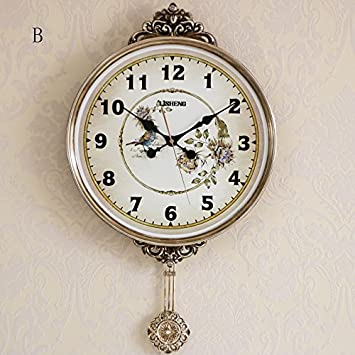 Vinteen Atmósfera de la moda Continental Vintage Reloj de la sala de estar Reloj de pared ...