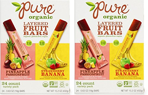 Pure Organic Layered Fruit Bars (Pineapple Passionfruit; Strawberry Banana) 24 ct. (Pack of 2 bxs)