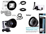 Vivitar 52mm Ring Filter Adapter for GoPro HERO3/ HERO3+/ HERO4 + 52mm Vivitar Professional HD 2.2x Telephoto Lens (MPN: V-52T)