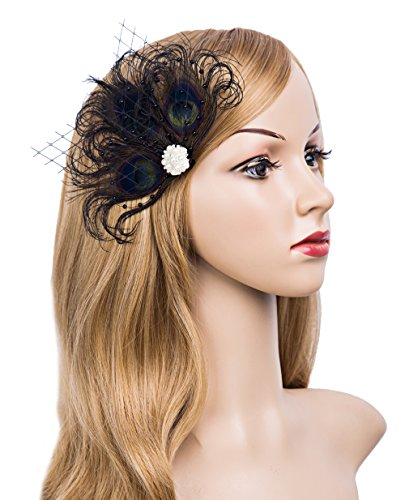 Black Flapper Adult Costumes Headpiece (1920s Gatsby Acessories Peacock Costume Hair Clip with Feather Pearl 1920 Flapper Headpiece (Black))