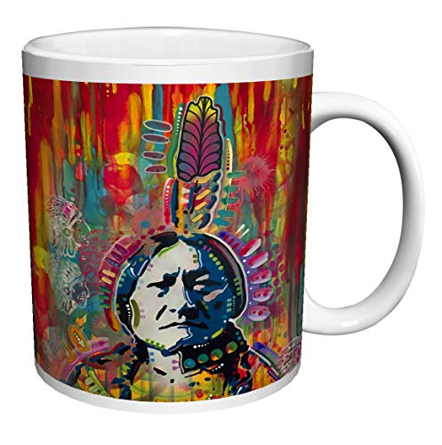 SITTING BULL BY Dean Russo NATIVE AMERICAN INDIAN CHIEF Art Porcelain Gift Coffee (Tea, Cocoa) (11 OZ C HANDLE CERAMIC ()