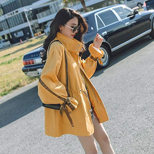 Cruzadas Manga Cuello Outwear Abrigos Correas Elegantes Mujer Moda Con Windbreaker Amarillo Gabardina Otoño Primavera Stand Anchos Chaquetas Larga Casuales Mujeres v4qwC