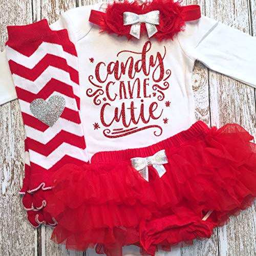 Baby Girl Christmas Outfit Candy Cane Cutie Outfit Optional Red Tutu Bloomers Headband and Leg Warmers