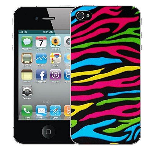 Mobile Case Mate iPhone 4s Silicone Coque couverture case cover Pare-chocs + STYLET - Multi Colour Zebra pattern (SILICON)