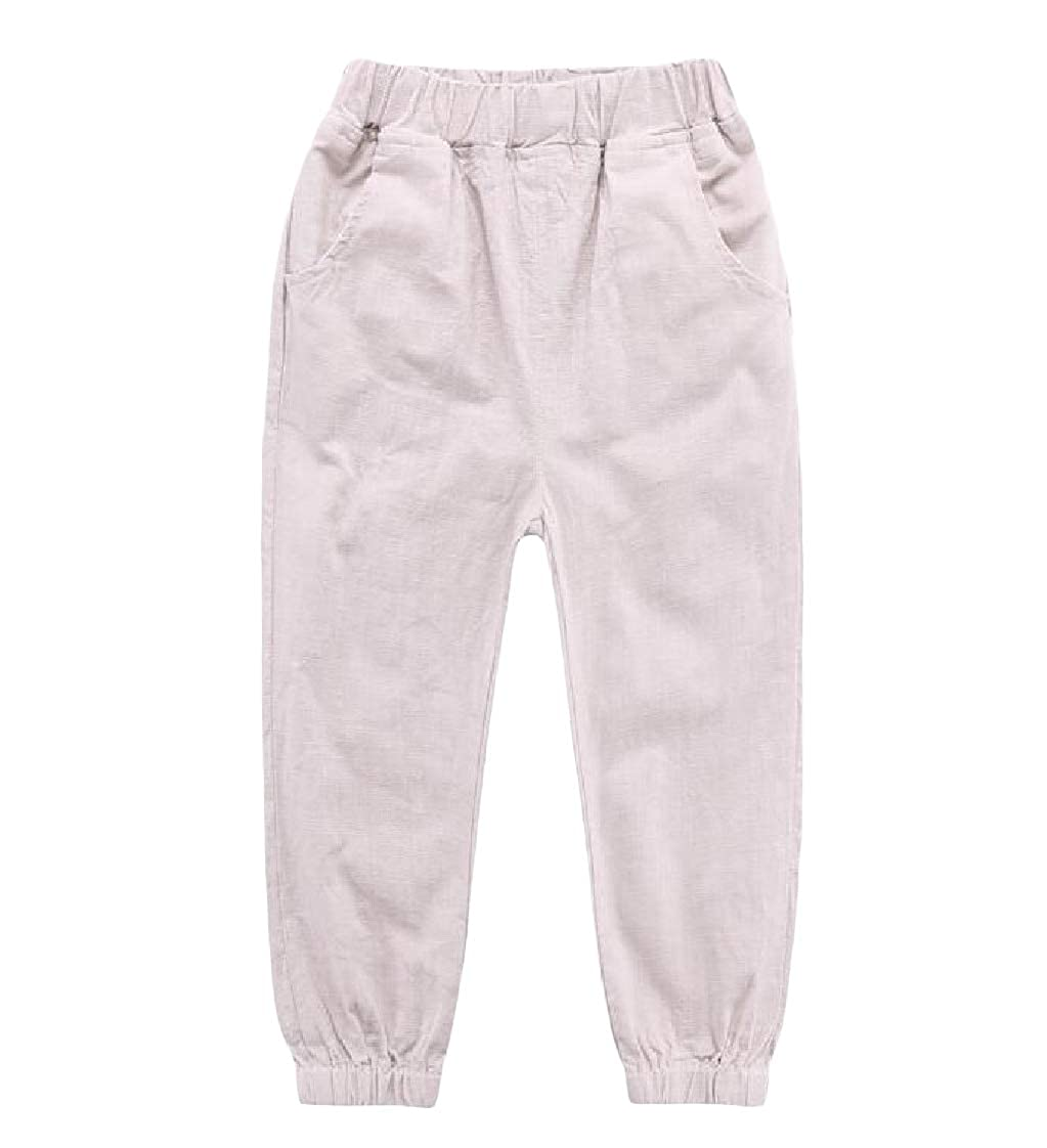 Etecredpow Boy Elastic Waist Summer Jogger Casual Pure Color Pants