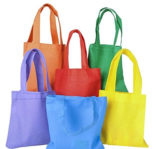 Party Favor Gift Bags Totes- Durable Poly Non-Woven Party Tote Bags - Reusable Treat Bags 6 Inches - 12 Bags in Assorted Colors