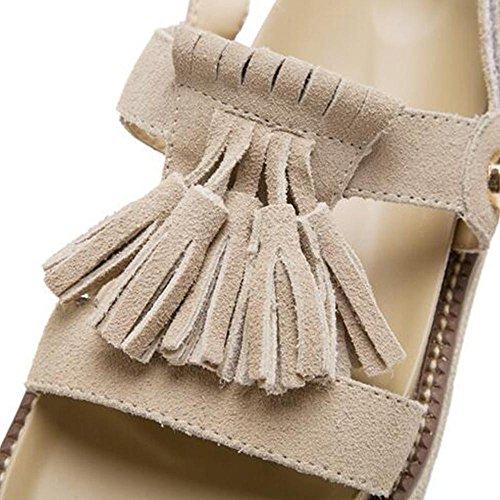 verano de borlas Velcro mujer del la las la de Sandalia Khaki de manera de UXzAIw5q