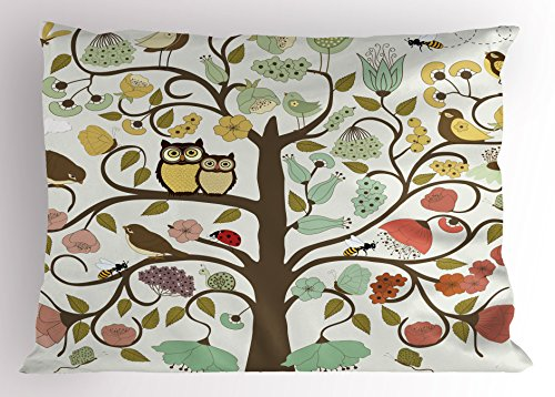 Ambesonne Animals Pillow Sham, Retro Style Tree with Flowers Bugs and Bees Owl Birds Insects Vintage, Decorative Standard Size Printed Pillowcase, 26 X 20 Inches, Almond Green ()