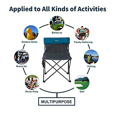 Yolafe Oversized Folding Camping Chair Portable Armless Lightweight Stool Compact Supports 300 lbs for Outdoor Fishing Sporting Events Picnic Beach with Carry Bag: Kitchen & Dining