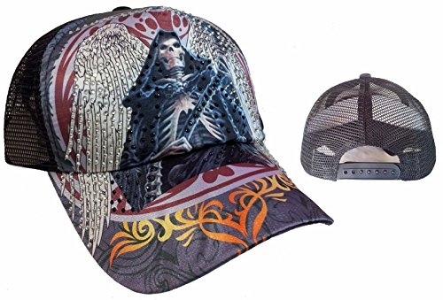 (TATTOO Santa Muerte Skull Rhinestone Trucker Mesh Fashion Ball Cap Hat)