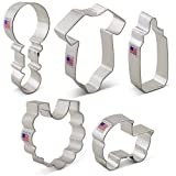 Baby Shower Cookie Cutter Set - 5 Piece - Onesie, Bib, Rattle, Bottle, and Baby Carriage - Ann Clark Cookie Cutters - US Tin Plated Steel