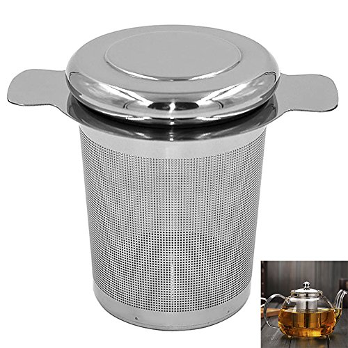 Tea Infuser, Stainless Steel Tea Strainer with Lid, Handles, Tea Filter, Cups, 2pcs by Ragdoll50 (Image #1)