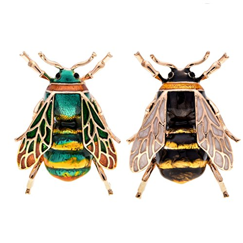 Woogge 3 Styels Fashion Natural Insect Animal Enamel Brooches Bee Bumble Bee Spider Alloy Brooches Pins Vintage Jewelry (2pcs/lot) (bee) Black Yellow Brooch