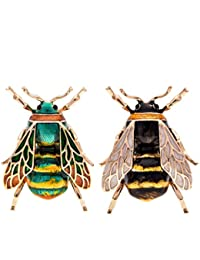Fashion Natural Insect Animal Enamel Brooches Bee Bumble Bee Spider Alloy Pins Vintage Jewelry for Women