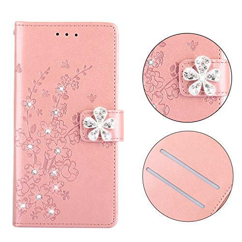 Maoerdo iPhone Xs Max Case,Embossed Plum Flowers Wallet [Bracket Chuck] 3D Handmade Bling Crystal Diamond PU Leather Shockproof Protective Cover for Apple iPhone Xs Max - Pink