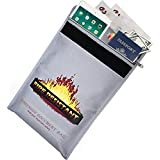 """Suprememama Fireproof Document Bag 15"""" x 11"""" Non-Itchy Silicone Coated Fire Resistant Money Bag Small Fireproof Safe Storage for Money, Documents, Jewelry and Passport"""
