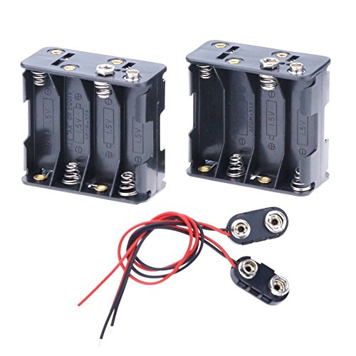 Hilitchi 2Set 8 x AA Thicken Battery Holder and T Type Wired Battery Clip Standard Snap Connector