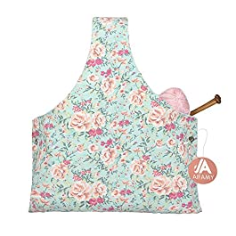 Travel Knitting Yarn Storage Bag Tote Organizer for Yarn Crochet Hooks Needles and Wool Mother's Day Gift, Sweet Floral