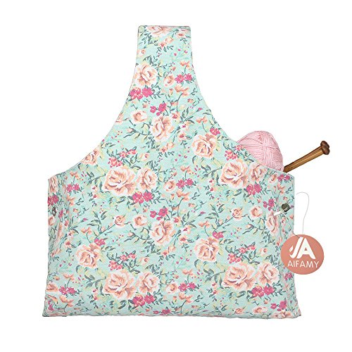 Travel Knitting Yarn Storage Bag Tote Organizer for Yarn Crochet Hooks Needles and Wool Mothers Day Gift, Sweet Floral