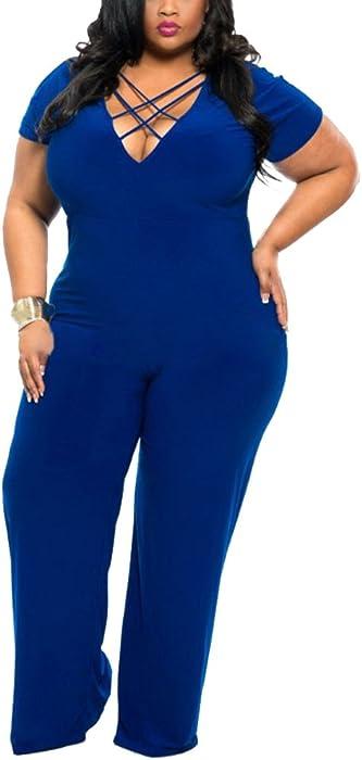 4c82534625b8 ZhuiKun Donna Jumpsuit Pantaloni Lunghi V Collo Playsuit Tuta Eleganti Tute  da Cerimonia