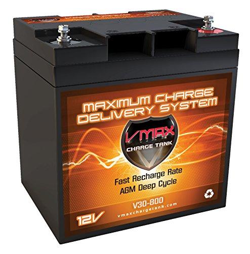 VMAX V30-800 12 Volt 30Ah AGM Deep Cycle SLA VRLA Battery for Marine RV Golf Solar, High Performance Batteries ideal for boats and 18-30lb minn kota, minnkota, cobra, sevylor and other trolling motors ()