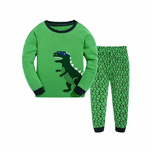 Tkala Boys Pajamas Children Clothes Set Dinosaur 100% Cotton Little Kids Pjs Sleepwear,6,1-green -