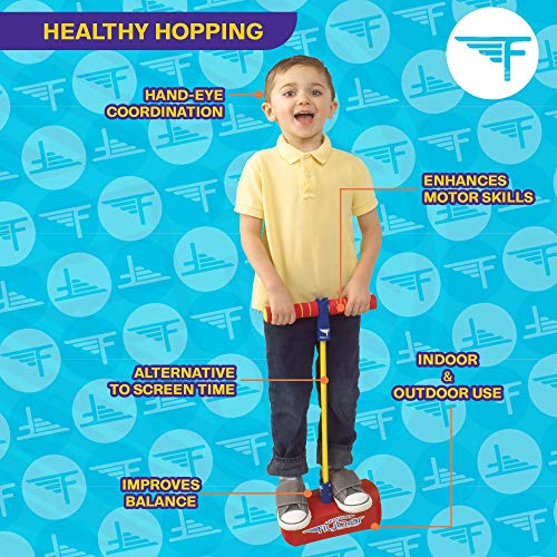 Flybar My First Foam Pogo Jumper for Kids Fun and Safe Pogo Stick for Toddlers, Durable Foam and Bungee Jumper for Ages 3 and up, Supports up to 250lbs (Red)