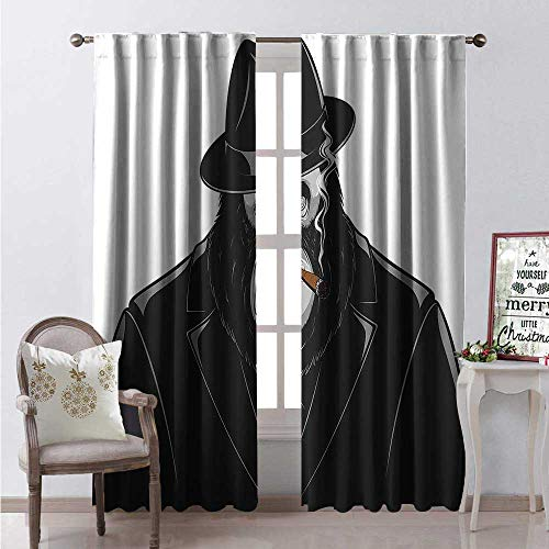 Gorilla Room Darkening Wide Curtains Formidable Orangutan Mafia Gangster in a Black Suit SMO a Cigar Waterproof Window Curtain W84 x L108 Black Grey and Vermilion